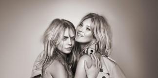 Кейт Мосс и Кара Делевинь в рекламной кампании Burberry