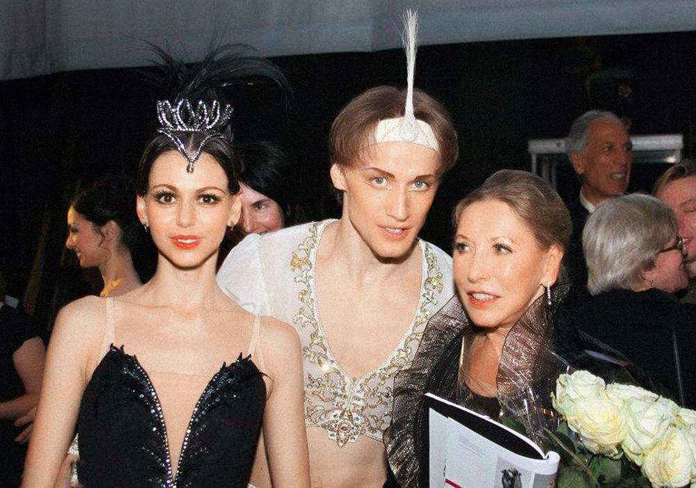 Денис Матвиенко с женой Анастасией и легендой мирового балета Натальей Макаровой