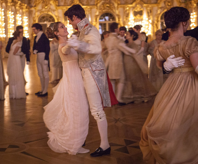 Picture shows: (L-R) Natasha (LILY JAMES), Andrei (JAMES NORTON)