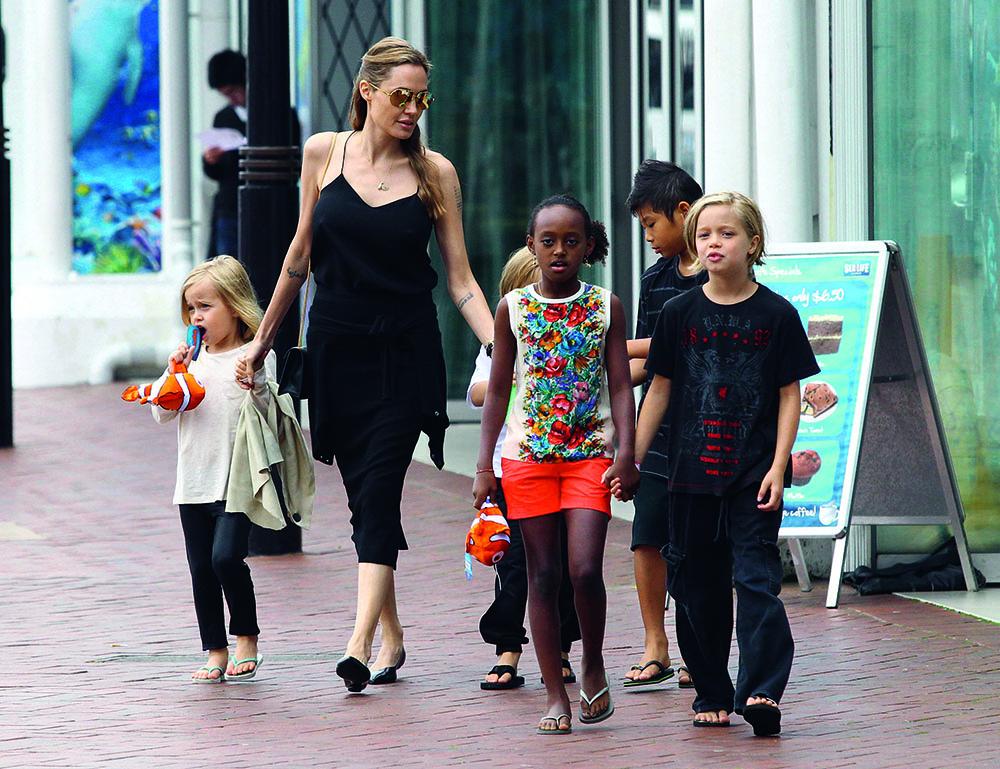 Анджелина Джоли и ее дети Шайло Нувель, Пакс Тьен, Захара Марли, Вивьен Маршелин и Нокс Леон