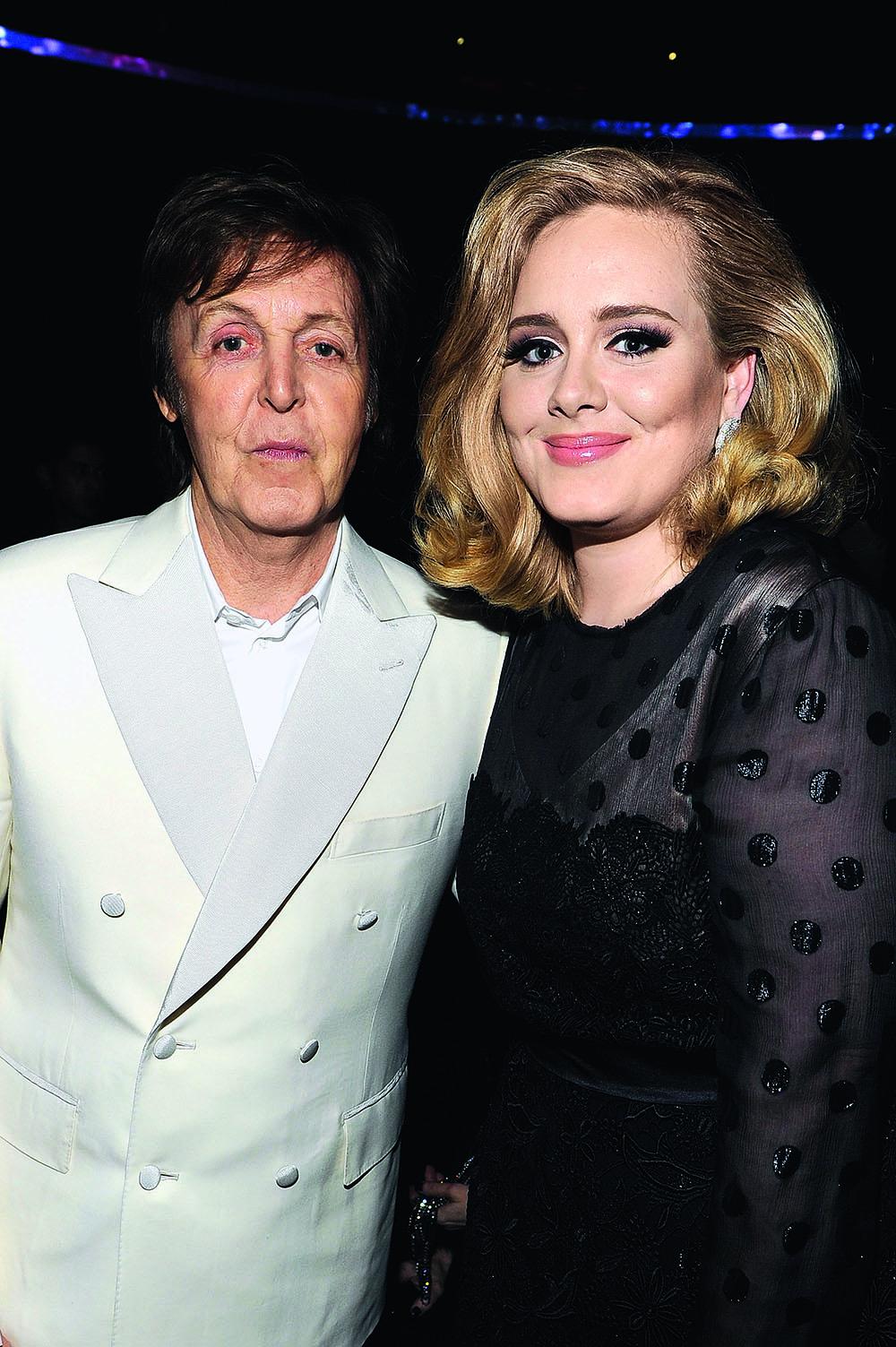 Адель с сэром Полом Маккартни на «Грэмми», 2012 г.