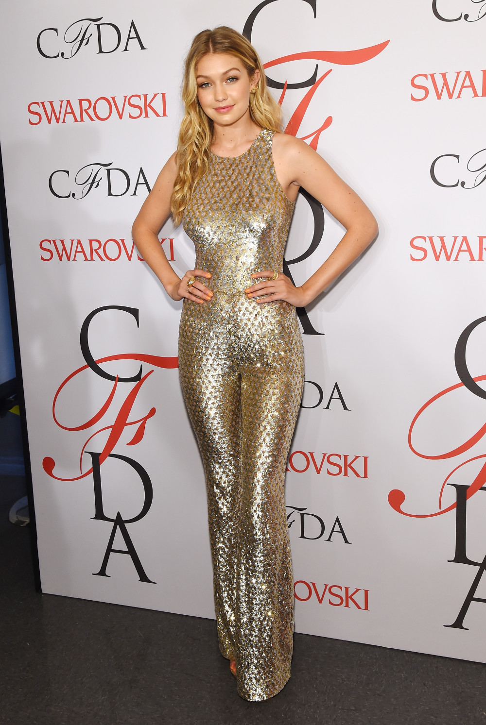 NEW YORK, NY - JUNE 01: Gigi Hadid poses on the winners walk at the 2015 CFDA Fashion Awards at Alice Tully Hall at Lincoln Center on June 1, 2015 in New York City. (Photo by Larry Busacca/Getty Images)