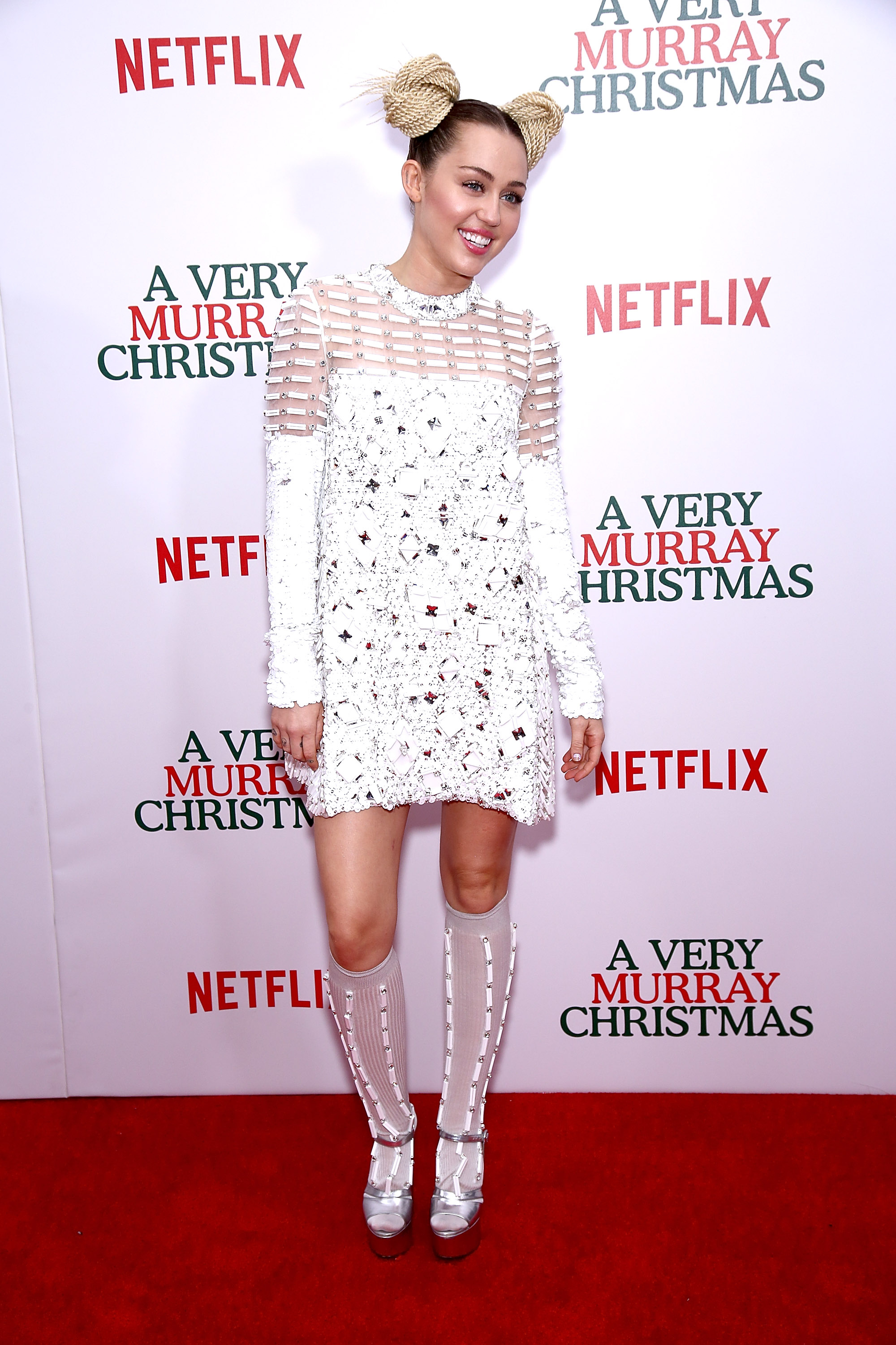 "NEW YORK, NY - DECEMBER 02: Singer Miley Cyrus attends ""A Very Murray Christmas"" New York premiere at Paris Theater on December 2, 2015 in New York City. (Photo by Paul Zimmerman/Getty Images)"