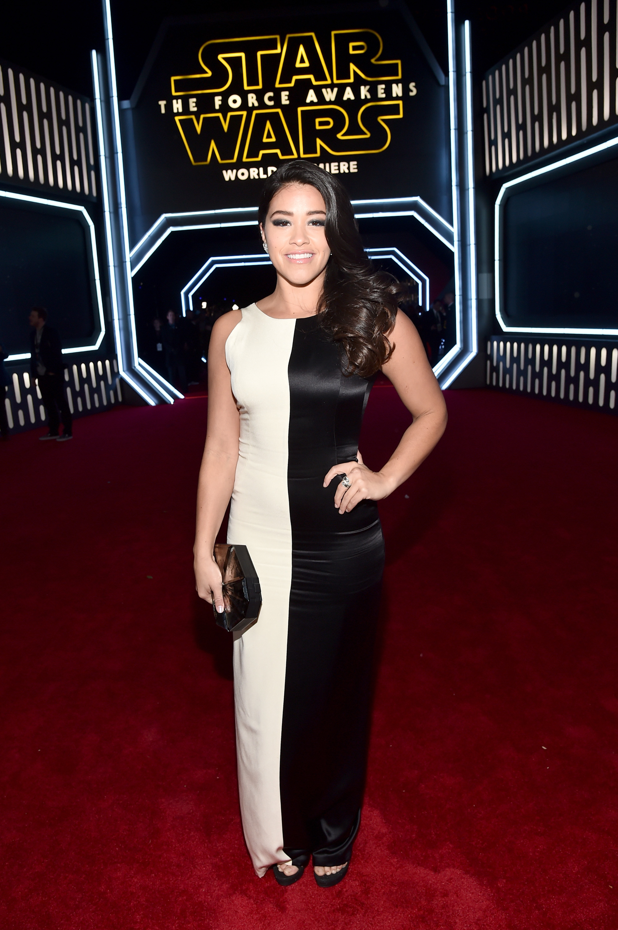 "HOLLYWOOD, CA - DECEMBER 14: Actress Gina Rodriguez attends the World Premiere of ""Star Wars: The Force Awakens"" at the Dolby, El Capitan, and TCL Theatres on December 14, 2015 in Hollywood, California. (Photo by Alberto E. Rodriguez/Getty Images for Disney)"
