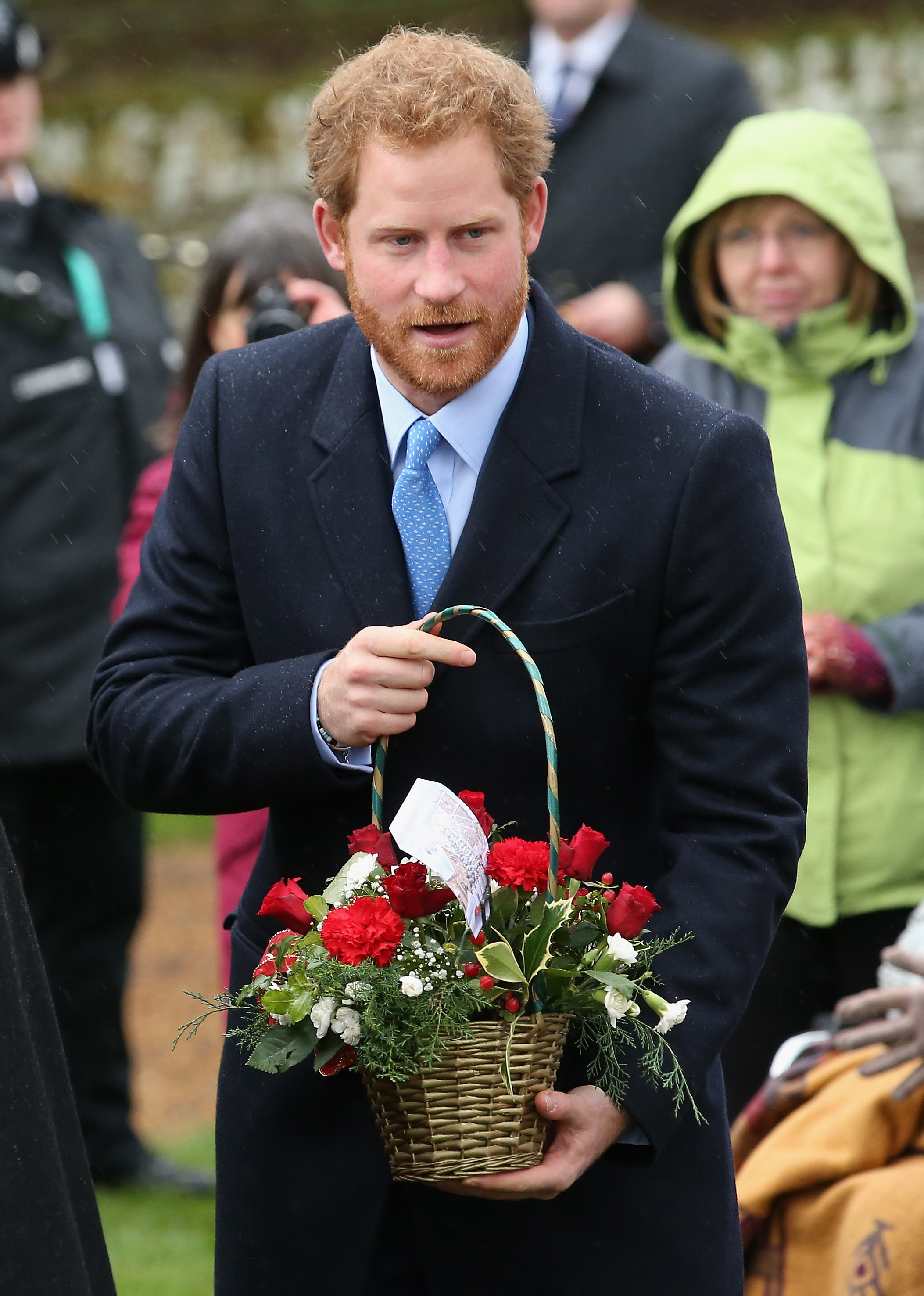 KING'S LYNN, ENGLAND - DECEMBER 25: Prince Harry meets members of the public as he attends a Christmas Day church service at Sandringham on December 25, 2015 in King's Lynn, England. (Photo by Chris Jackson/Getty Images)