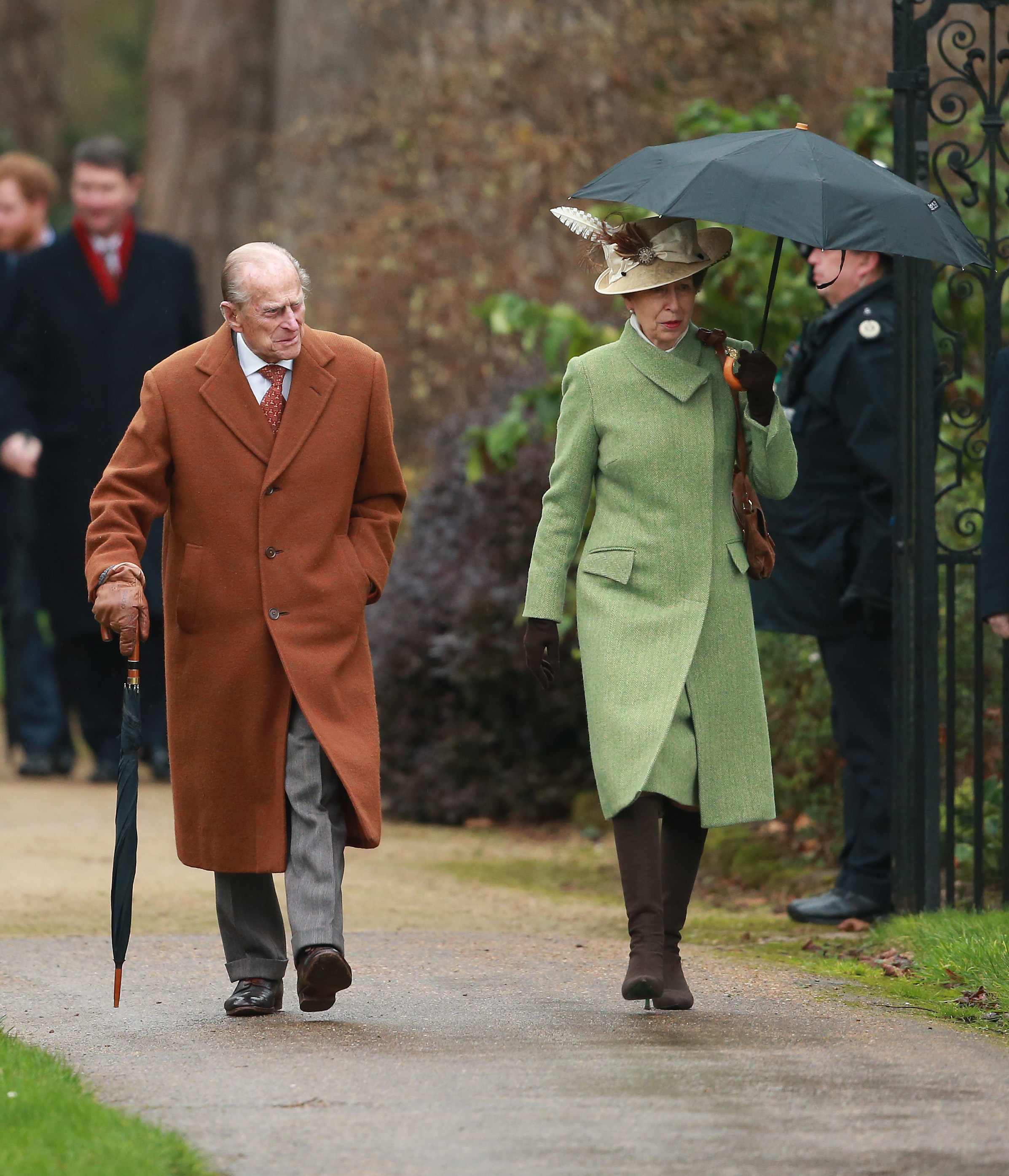 KING'S LYNN, ENGLAND - DECEMBER 25: Prince Philip, Duke of Edinburgh and Princess Anne, Princess Royal attend a Christmas Day church service at Sandringham on December 25, 2015 in King's Lynn, England. (Photo by Chris Jackson/Getty Images)