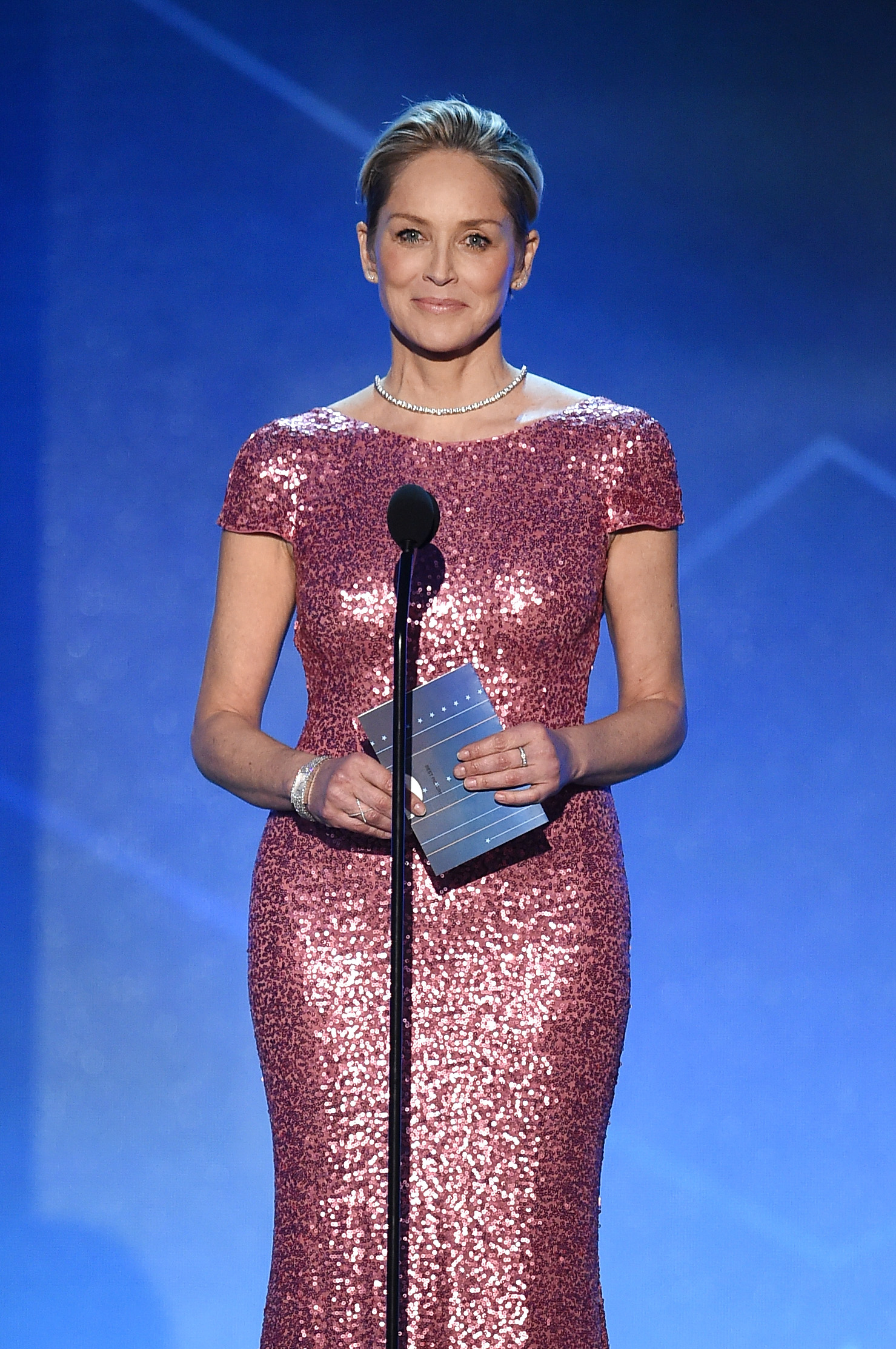 SANTA MONICA, CA - JANUARY 17: Actress Sharon Stone speaks onstage during the 21st Annual Critics' Choice Awards at Barker Hangar on January 17, 2016 in Santa Monica, California. (Photo by Kevin Winter/Getty Images)