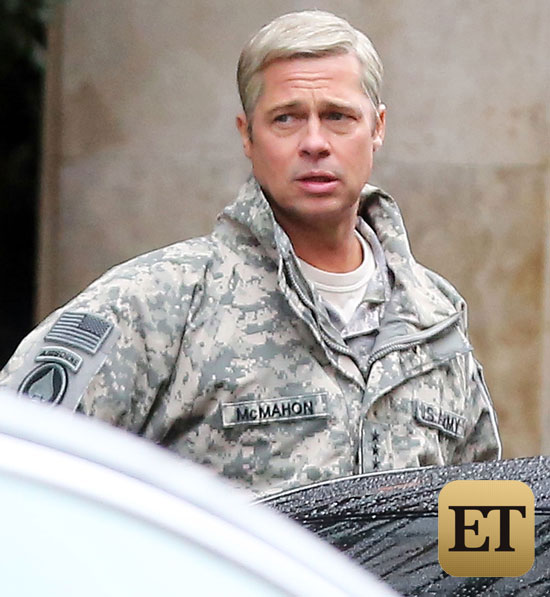 Exclusive... 51960105 Brad Pitt spotted on the set of Netflix's upcoming satirical comedy 'War Machine', in Paris, France on January 31, 2016. The actor is sporting grey hair and some running shorts. FameFlynet, Inc - Beverly Hills, CA, USA - +1 (310) 505-9876 RESTRICTIONS APPLY: USA ONLY