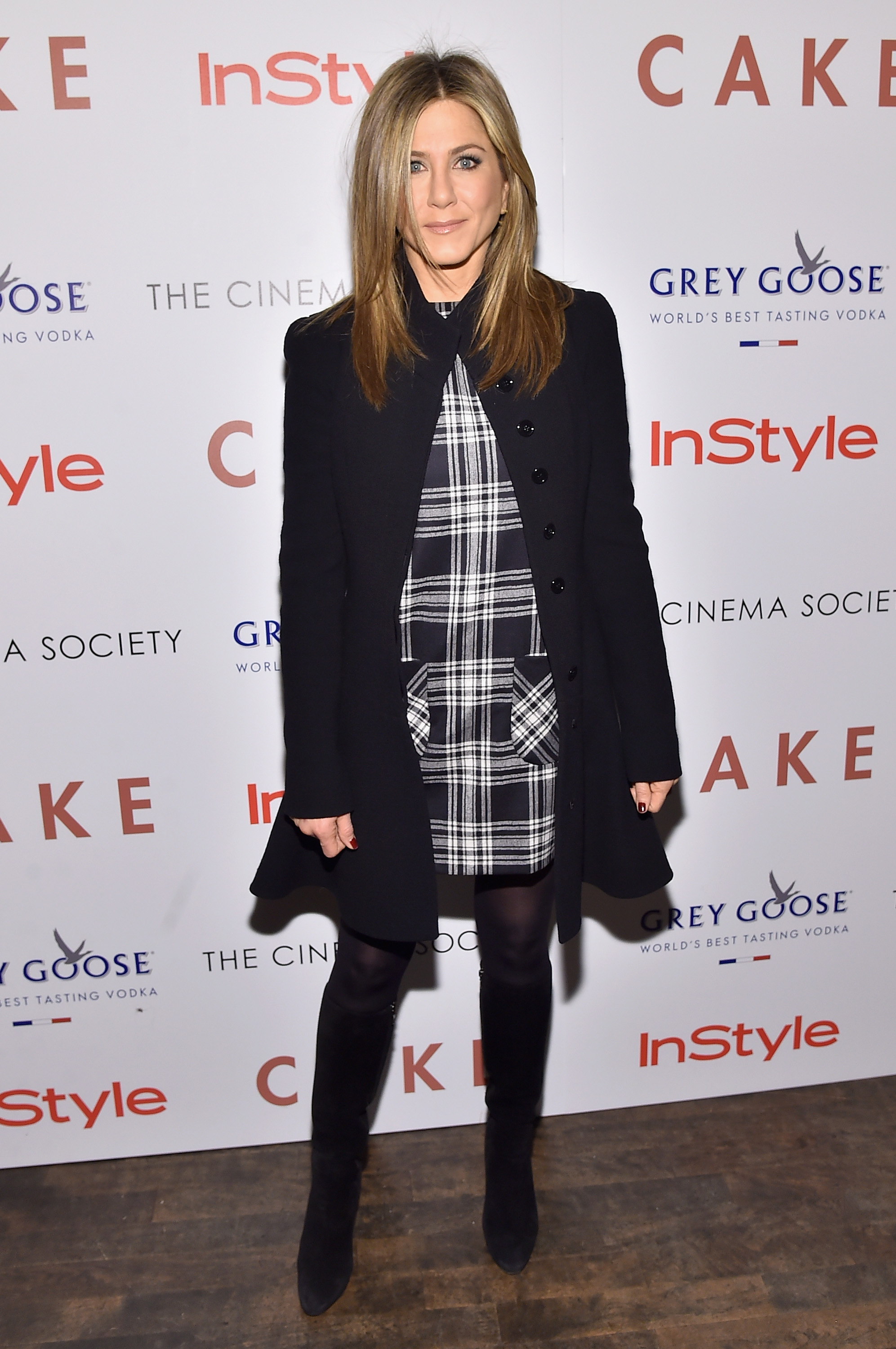"NEW YORK, NY - NOVEMBER 16: Actress Jennifer Aniston attends the ""Cake"" screening hosted by The Cinema Society & Instyle at Tribeca Grand Hotel on November 16, 2014 in New York City. (Photo by Mike Coppola/Getty Images)"
