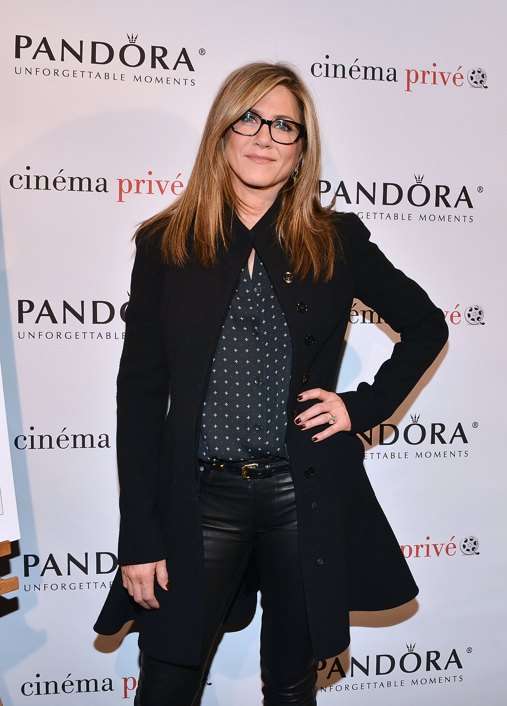 "WEST HOLLYWOOD, CA - NOVEMBER 23: Jennifer Aniston attends the cinema prive And PANDORA Jewelry Host A Special Screening Of ""Cake"" on November 23, 2014 in West Hollywood, California. (Photo by Araya Diaz/Getty Images for cinema prive)"