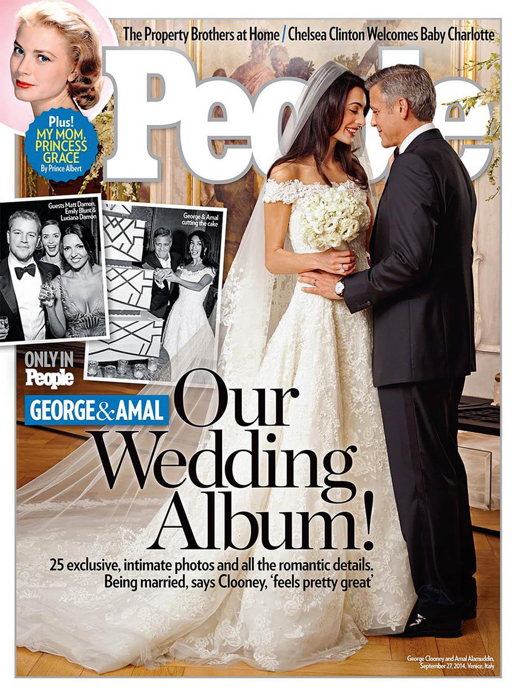 Свадебное фото Джорджа и Амаль украсило обложку журнала People (2014 г.)