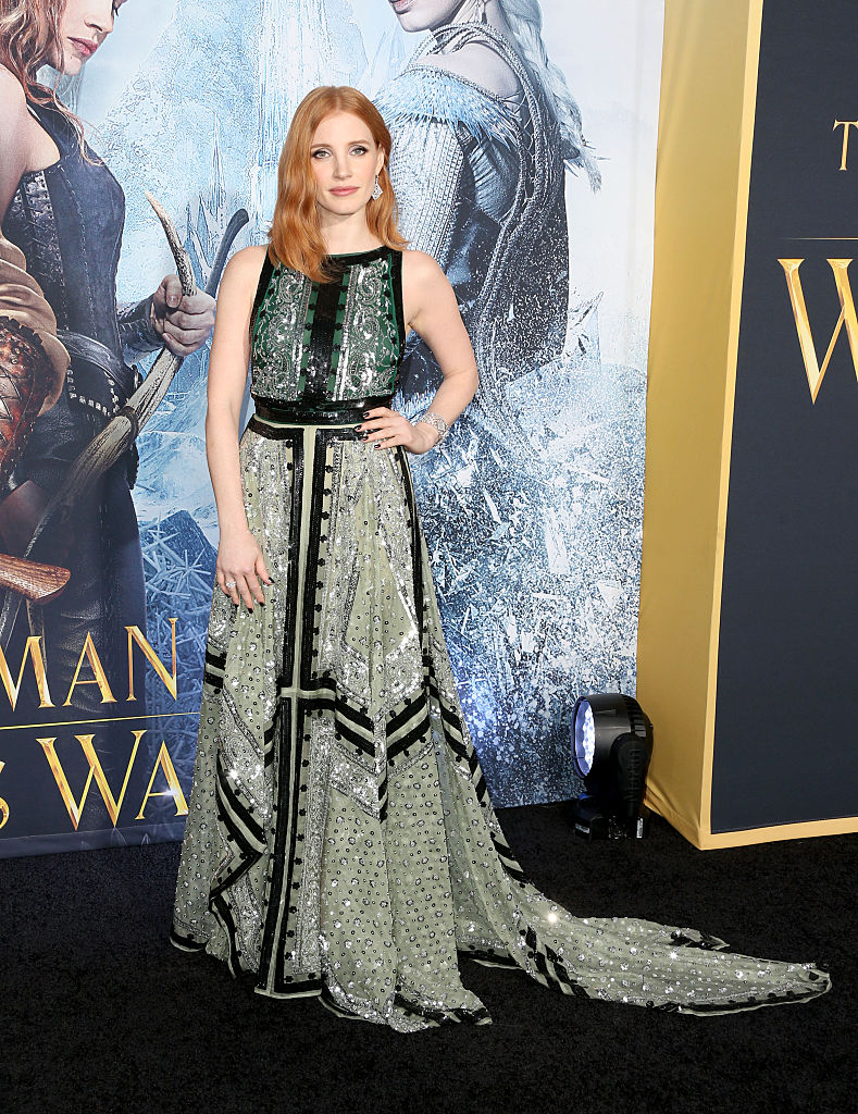 "WESTWOOD, CALIFORNIA - APRIL 11: Actress Jessica Chastain attends the premiere of Universal Pictures' ""The Huntsman: Winter's War"" at the Regency Village Theatre on April 11, 2016 in Westwood, California. (Photo by Frederick M. Brown/Getty Images)"