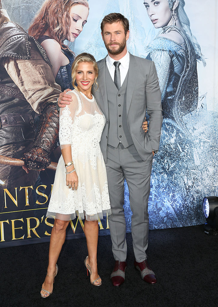 "WESTWOOD, CALIFORNIA - APRIL 11: Actor Chris Hemsworth (R) and model Elsa Pataky (L) attend the premiere of Universal Pictures' ""The Huntsman: Winter's War"" at the Regency Village Theatre on April 11, 2016 in Westwood, California. (Photo by Frederick M. Brown/Getty Images)"
