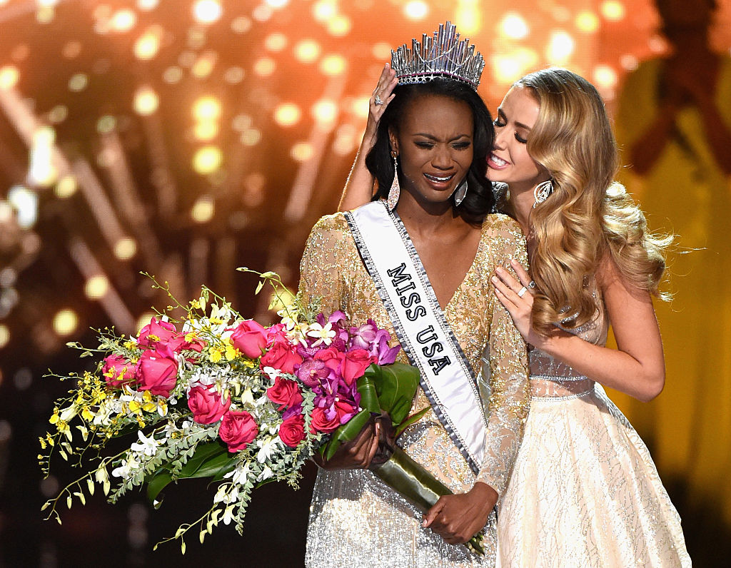 LAS VEGAS, NV - JUNE 05: Miss District of Columbia USA 2016 Deshauna Barber reacts as she is crowned Miss USA 2016 by Miss USA 2015 Olivia Jordan during the 2016 Miss USA pageant at T-Mobile Arena on June 5, 2016 in Las Vegas, Nevada. (Photo by Ethan Miller/Getty Images)