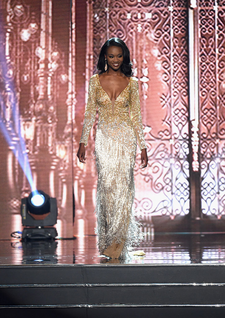 during the 2016 Miss USA pageant at T-Mobile Arena on June 5, 2016 in Las Vegas, Nevada.