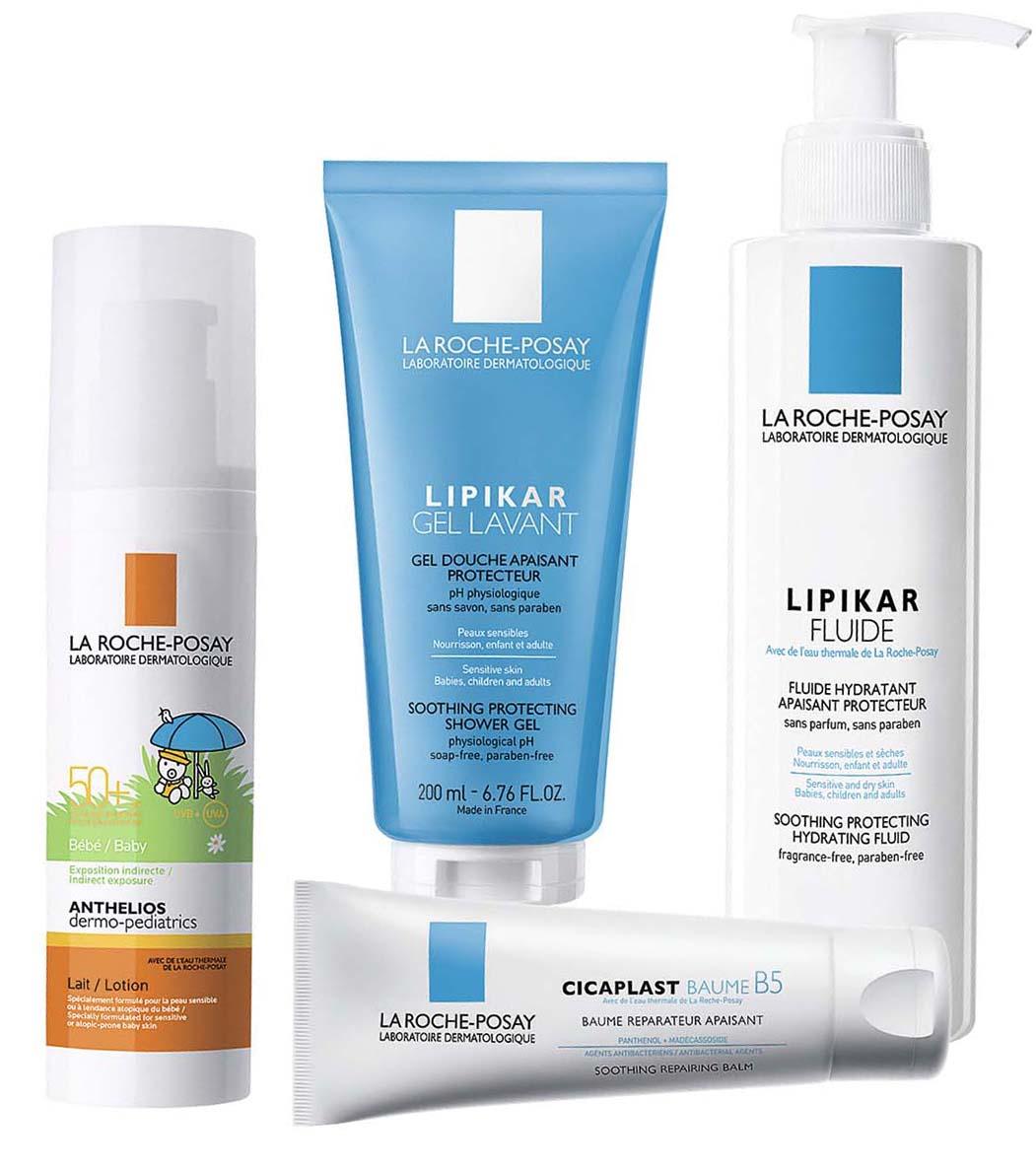 1–4. Солнцезащитное молочко для младенцев Anthelios dermo-pediatrics SPF 50+; освежающий гель для душа Lipikar Gel Lavant; увлажняющее, смягчающее и защитное средство для лица и тела (для взрослых и детей) Lipikar Fluide; мультивосстанавливающее средство для чувствительной и раздраженной кожи Cicaplast Baume B5, все – La Roche-Posay.