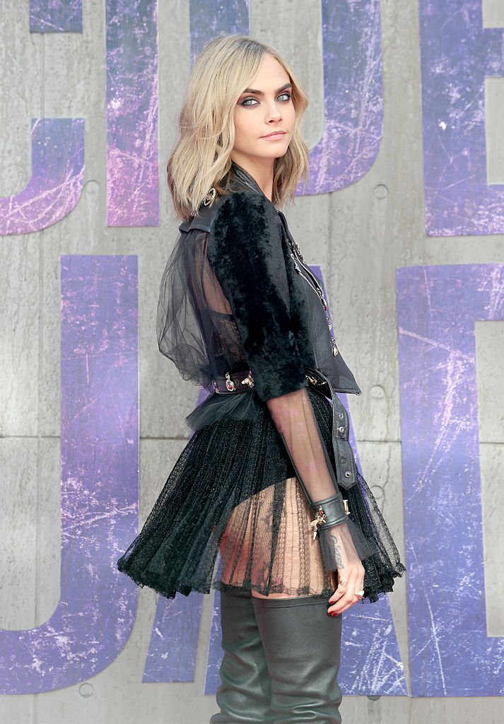 """LONDON, ENGLAND - AUGUST 03: Cara Delevingne attends the European Premiere of """"Suicide Squad"""" at the Odeon Leicester Square on August 3, 2016 in London, England. (Photo by Chris Jackson/Getty Images)"""