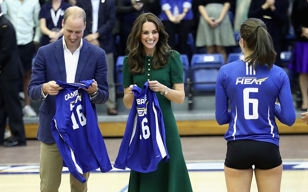 KELOWNA, BC - SEPTEMBER 27: Catherine, Duchess of Cambridge and Prince William, Duke of Cambridge watch a game of volleyball as they visit Kelowna University during the Royal Tour of Canada on September 27, 2016 in Kelowna, Canada. Prince William, Duke of Cambridge, Catherine, Duchess of Cambridge, Prince George and Princess Charlotte are visiting Canada as part of an eight day visit to the country taking in areas such as Bella Bella, Whitehorse and Kelowna. (Photo by Chris Jackson/Getty Images)