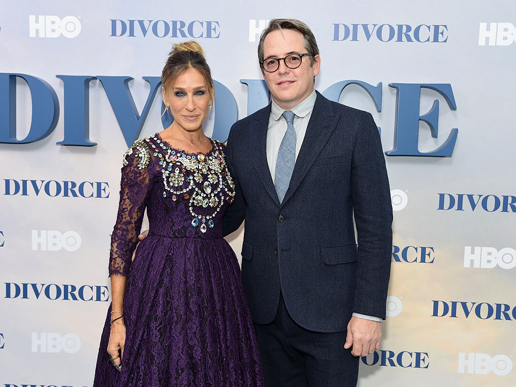 "NEW YORK, NY - OCTOBER 04: Sarah Jessica Parker and Matthew Broderick attend the ""Divorce"" New York Premiere at SVA Theater on October 4, 2016 in New York City. (Photo by Jamie McCarthy/Getty Images)"