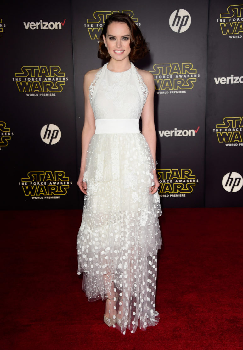"""HOLLYWOOD, CA - DECEMBER 14: Actress Daisy Ridley attends Premiere of Walt Disney Pictures and Lucasfilm's """"Star Wars: The Force Awakens"""" on December 14, 2015 in Hollywood, California. (Photo by Frazer Harrison/Getty Images)"""