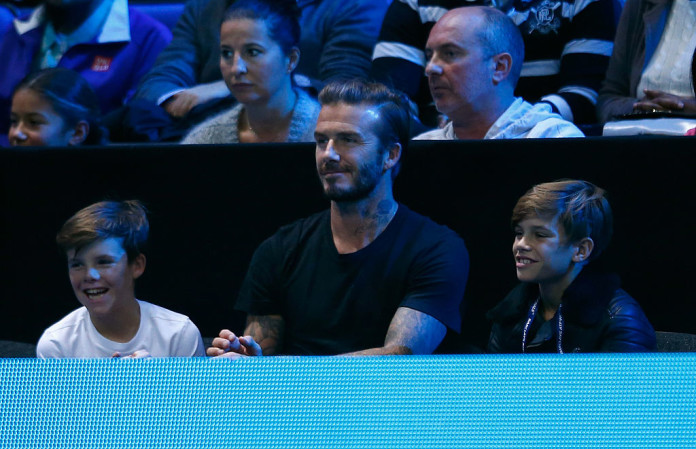 Дэвид Бекхэм с сыновьями Крузом и Ромео