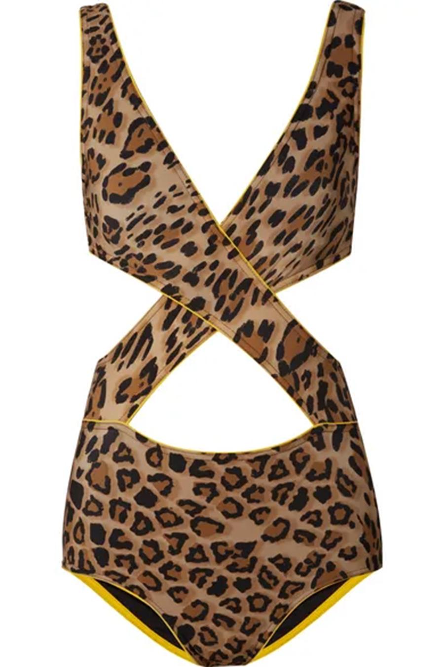 слитный сдельный купальник монокини леопард модные купальники лето 2020