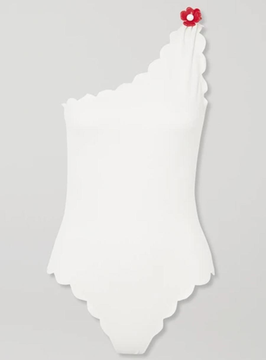 слитный сдельный купальник монокини белый на одно плечо модные купальники лето 2020