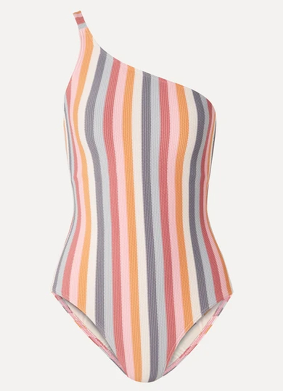 слитный сдельный купальник монокини полосатый на одно плечо модные купальники лето 2020