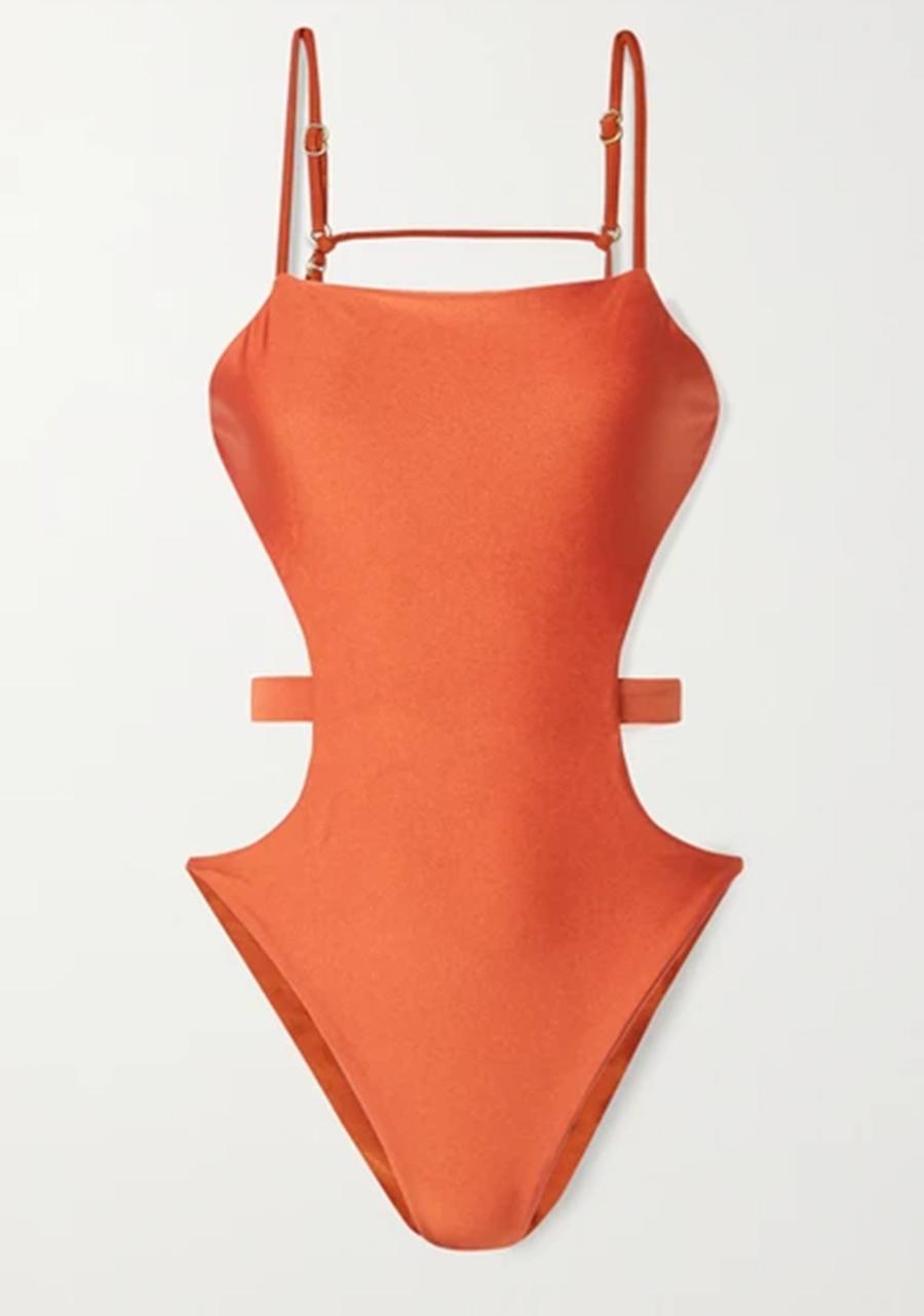 слитный сдельный купальник монокини оранжевый с вырезами модные купальники лето 2020