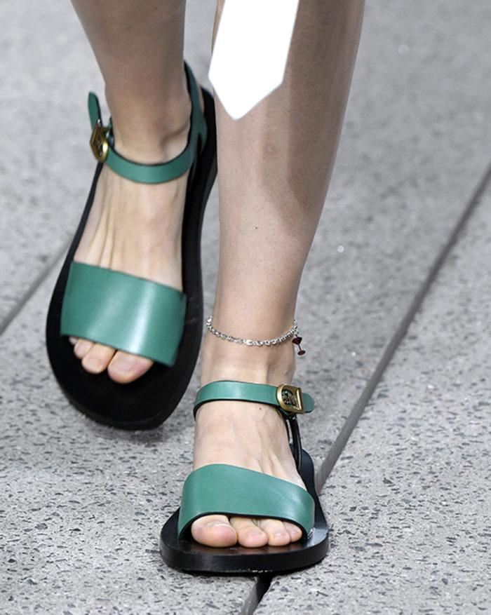 зеленые мятные цвета шалфея сандалии на низком ходу браслет на щиколотку мода лето 2020