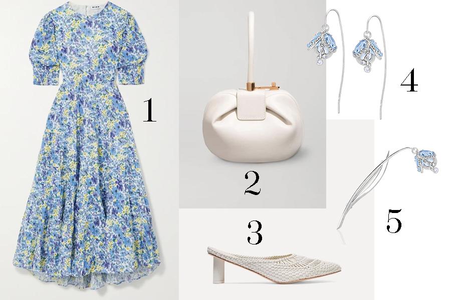 модное плвтье с цветочным принтом в цветах мелкие цветы голубой с рукавом белая сумка белые мюли босоножки плетеные лето 2020