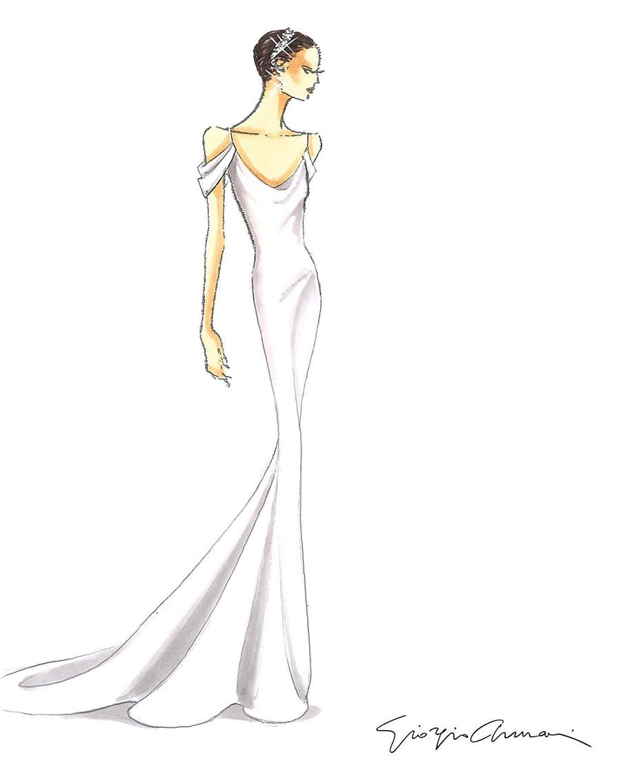 свадьба крис пратт кэтрин шварценеггер свадебное платье фасон рыбка белое длиное атласное армани giorgio armani
