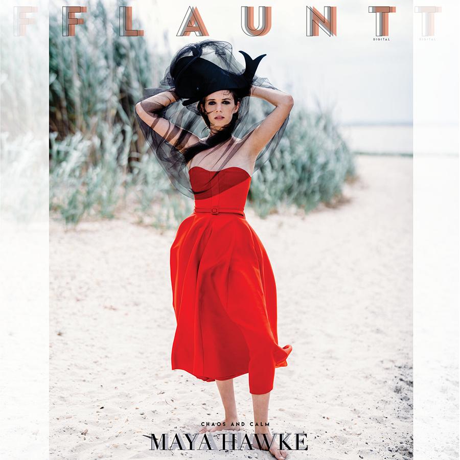 майя хоук дочь ума ьурман итан хоук модель фотосессия красное платье черная шляпа стрижка каре макиж глаз smoky eyes