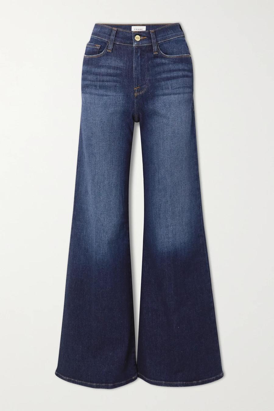 модные джинсы осень 2020 палаццо клеш свободные синие с широкими штанинами высокая посадка
