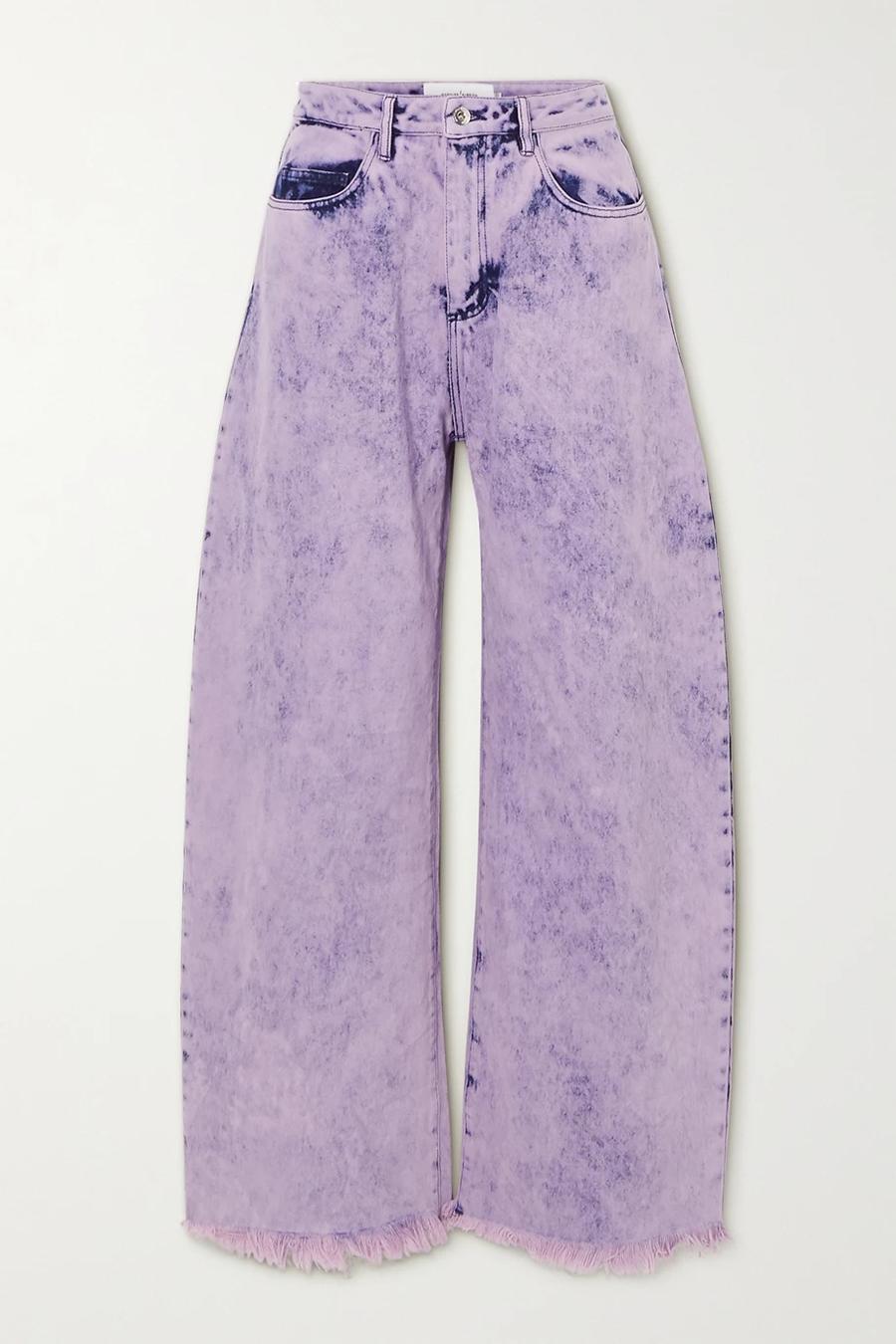 модные джинсы осень 2020 палаццо клеш свободные фиолетовые с широкими штанинами высокая посадка
