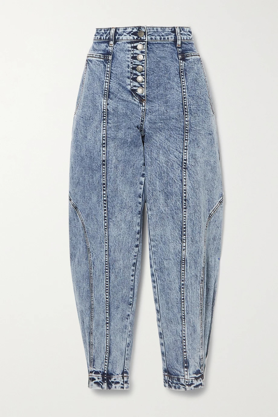 модные джинсы осень 2020 слоучи бананы с деоративной строчкой впереди