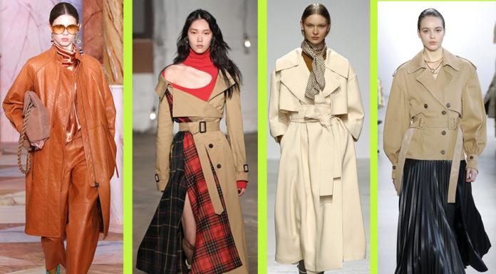 плащ тренч мода осень 2020 короткий с вставками кожаный