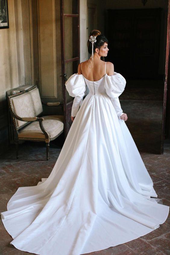 свадебные платься с пышными рукавами