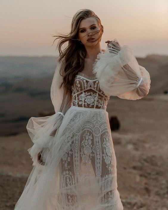 свадебные платья кружево тренды 2021