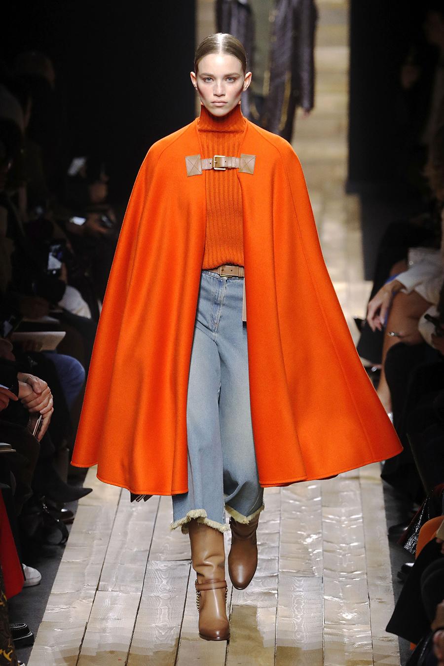 модное пальто осень 2020 накидка длинная мантия оранжевая пончо