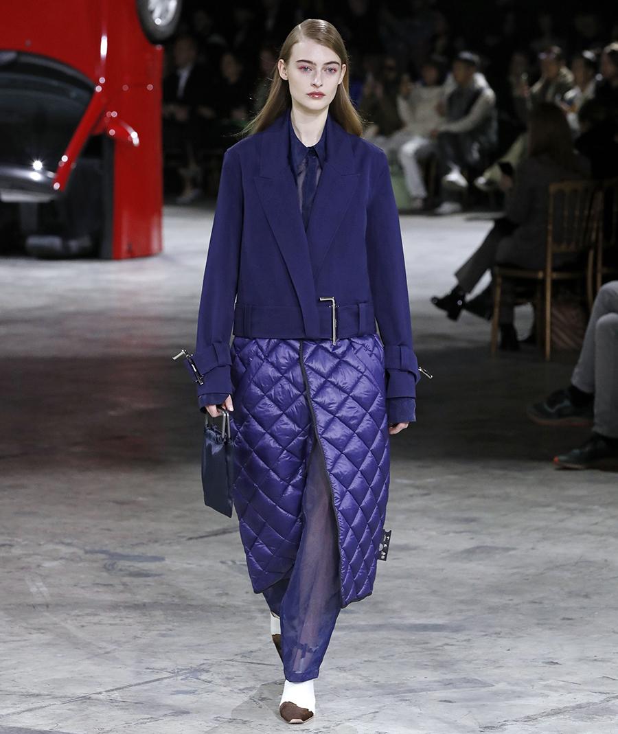 модное пальто осень 2020 стеганое синее за колено