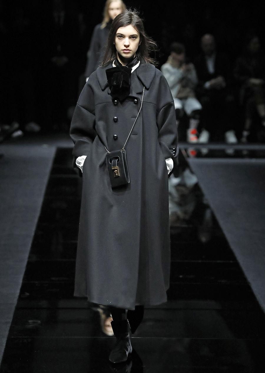 модное пальто осень 2020 черное двубортное длинное за колено с черными пуговицами