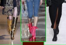 самые модные сапоги ботинки ботильоны осень зима 2020 2021 золотые кожа крокодила розовые на шнурках черные на грубой подошве