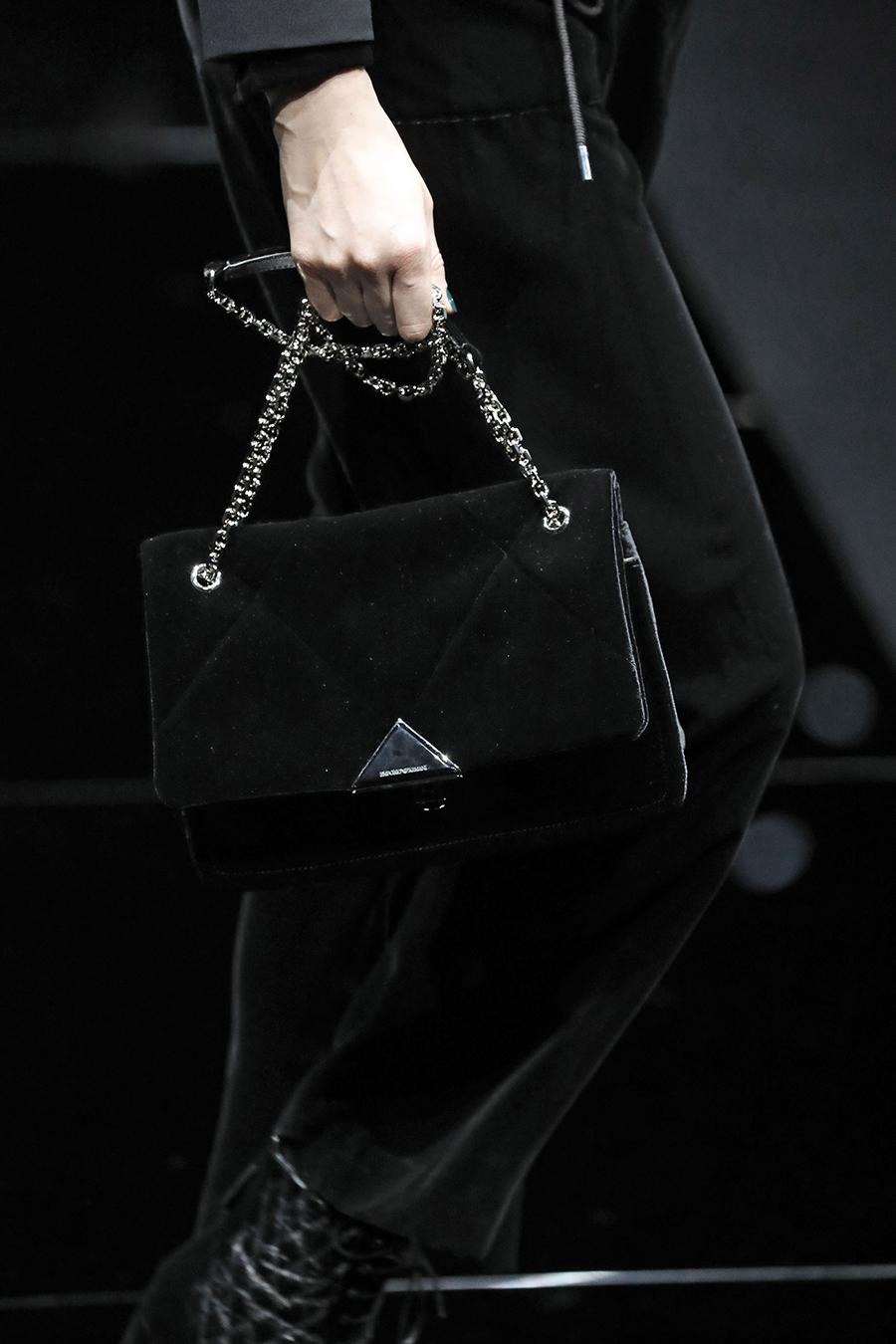 модная стеганая сумка осень зима 2020 2021 черная на цепочке