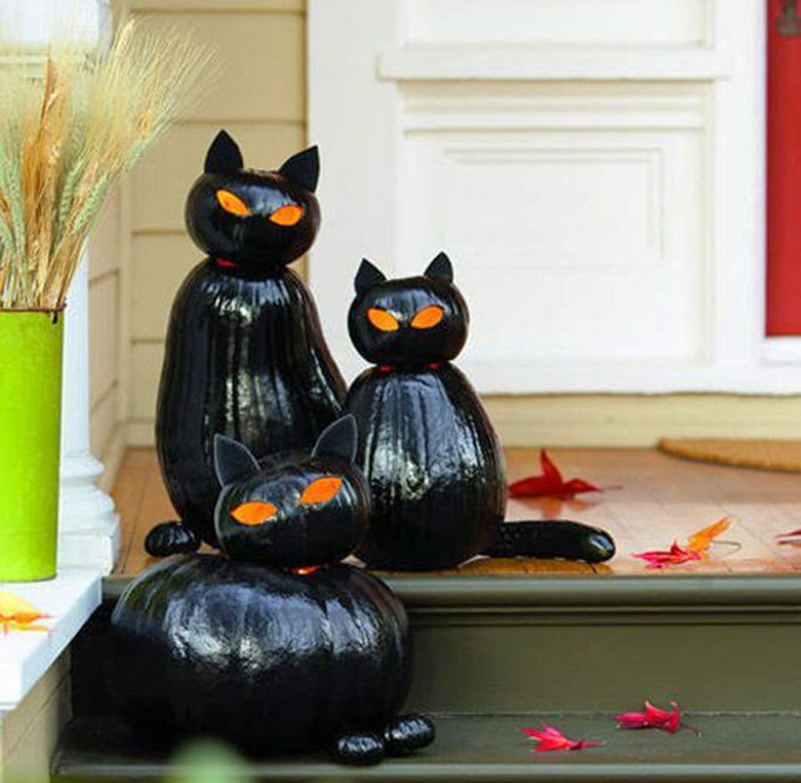 хэллоуин 2020 тыква черная кошка