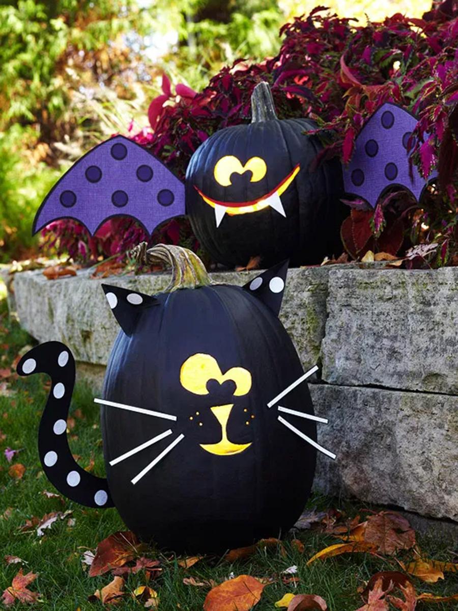 хэллоуин 2020 тыква черная кот летучая мышь