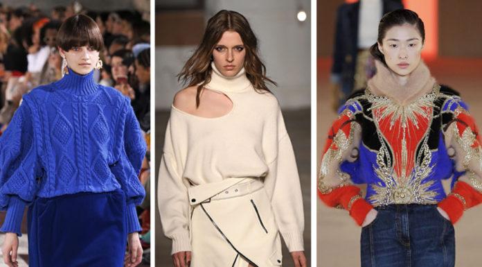 сивтер мода зима 2020 2021 оверсайз с косами с принтами с вышивкой с голыми алечами