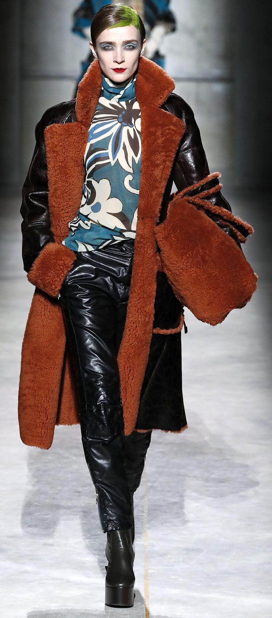 модная дубленка осень зима 2020 2021 коричневая черная длинная