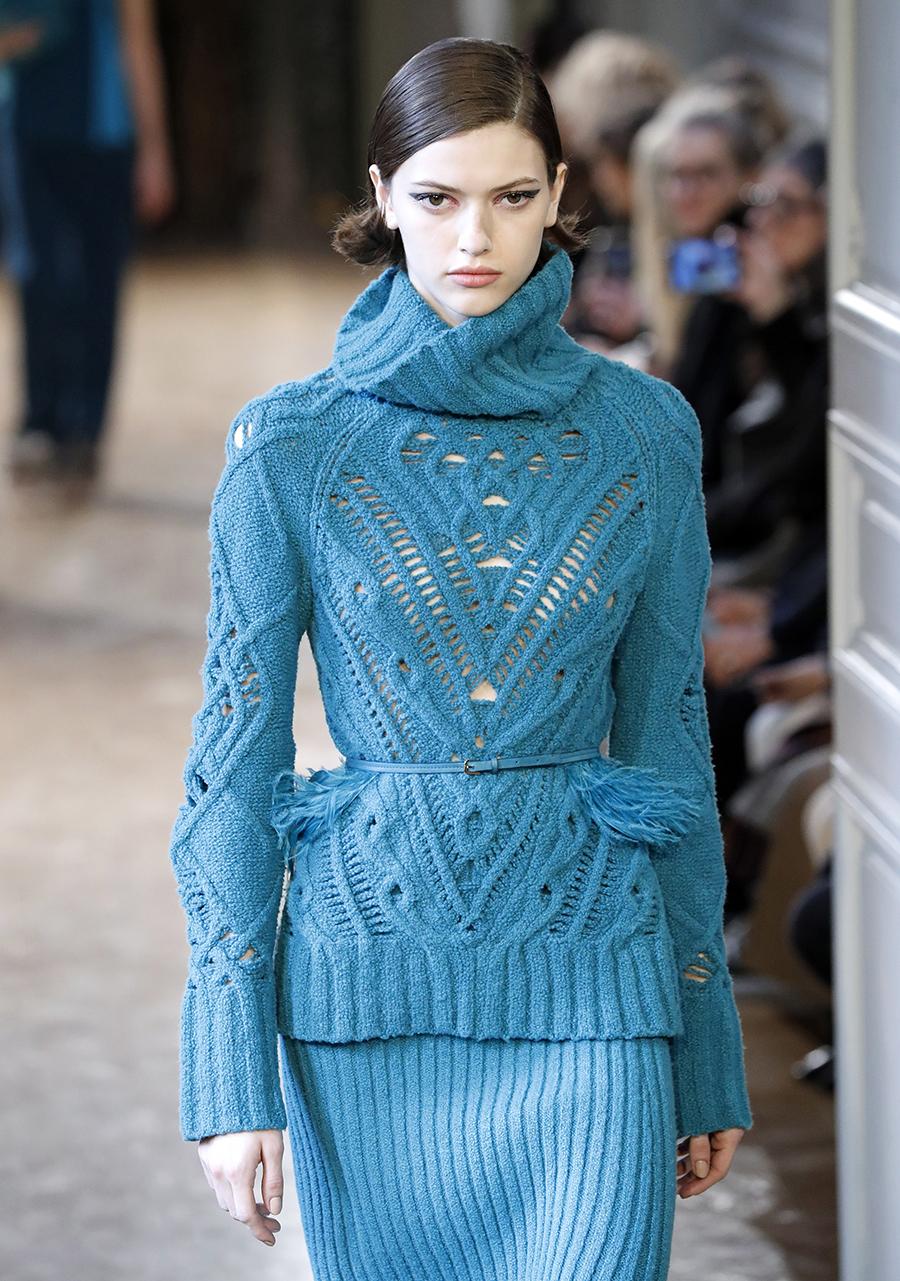 модный свитер фжурный осень зима 2020 2021 зеленый синий морской волны