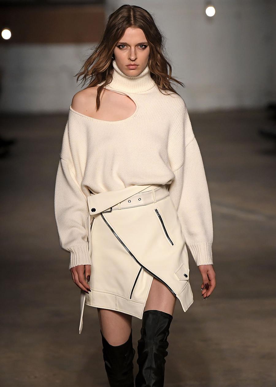 модный свитер с голыми обнаженными открытыми плечами осень зима 2020 2021 бежевый